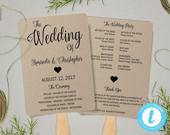 Wedding Program Fan Templates Luxury Kraft Paper Program Fan Template Fan Wedding Program