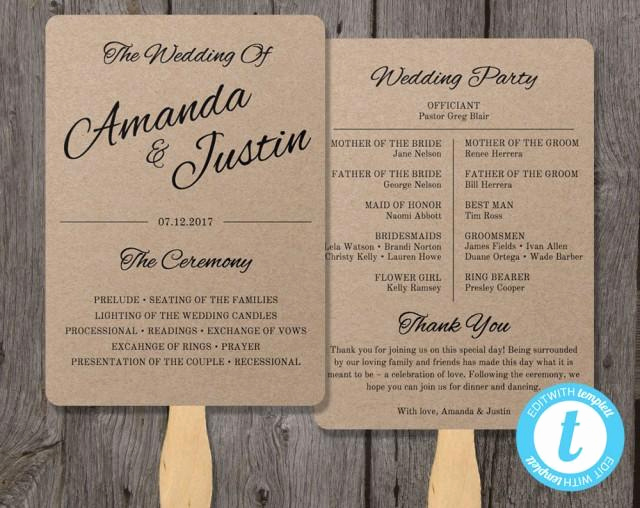 rustic wedding program fan template fan wedding program template instant edit in our web app clean cursive