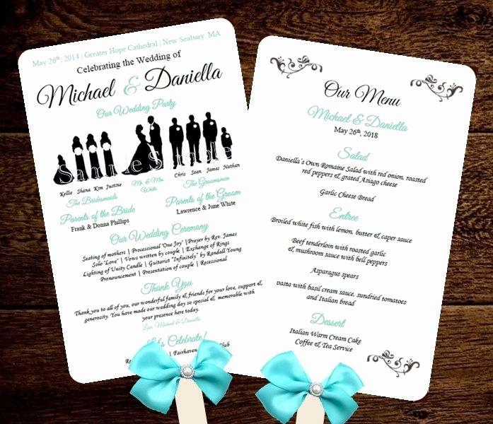 Wedding Program Fan Templates Unique Silhouette Wedding Program Template Fan Menu Diy Choose