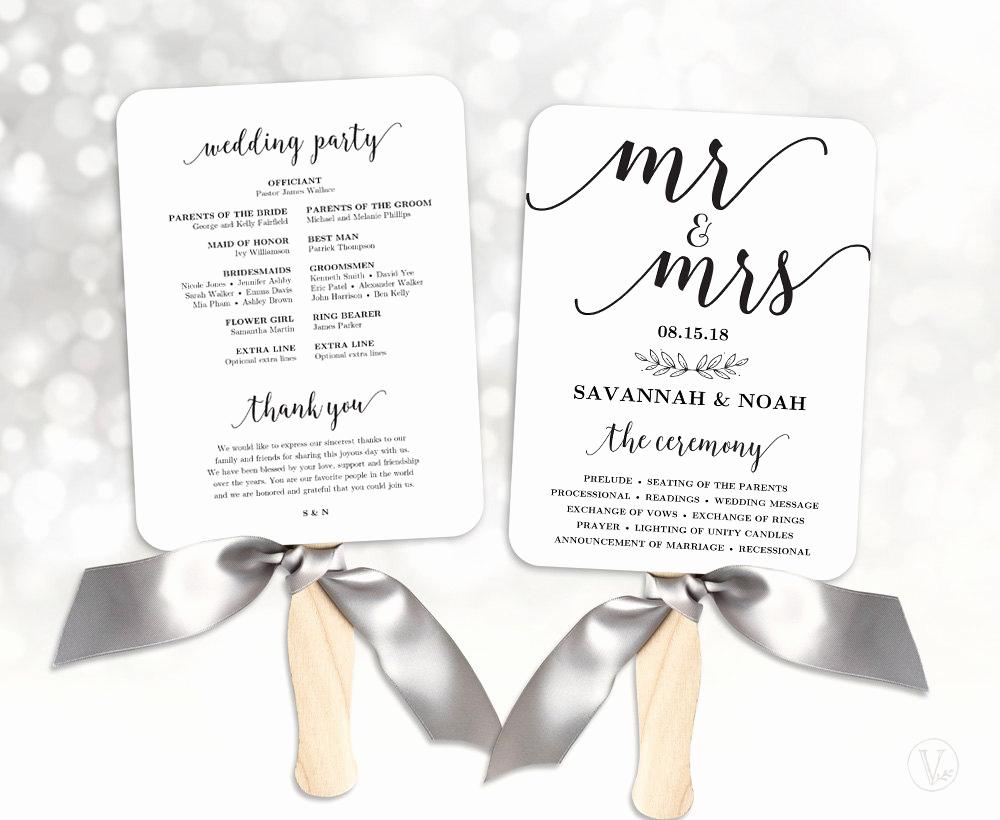 Wedding Program Fan Templates Unique Wedding Fans Printable Wedding Fan Program Template Fan
