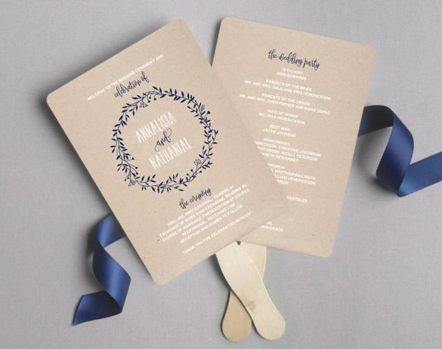 Wedding Program Fan Templates Unique Wedding Program Fan Wedding Program Printable Navy
