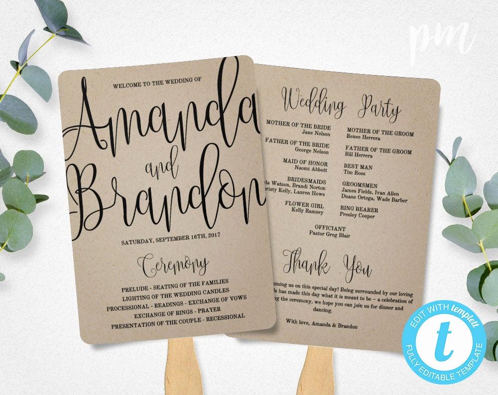 Wedding Program Fans Template Beautiful Wedding Program Fan Template Calligraphy Script Printable