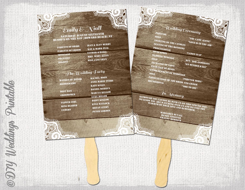 Wedding Program Fans Template Best Of Rustic Wedding Program Template Fan Wedding Programs
