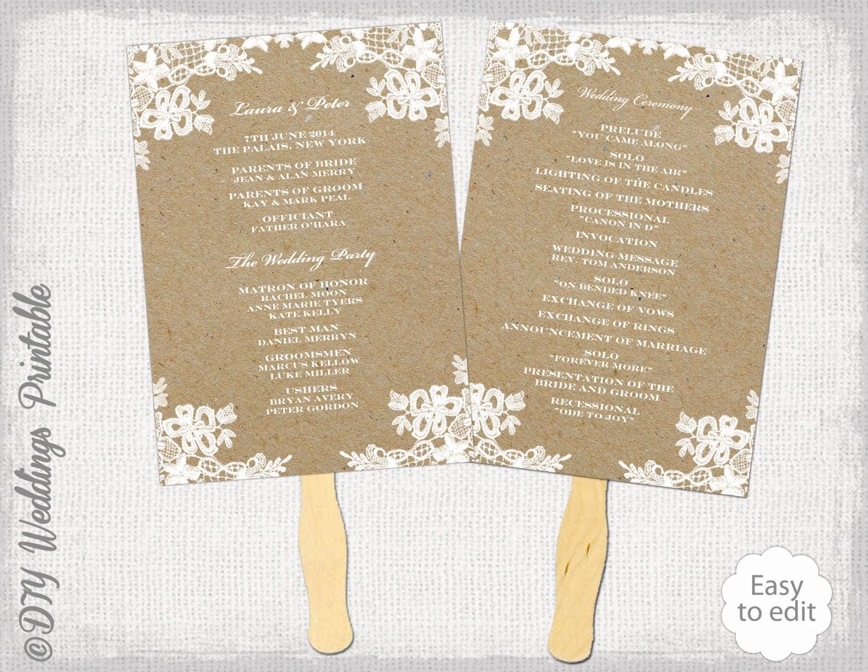Wedding Program Fans Template Elegant Rustic Wedding Fan Program Template Rustic Lace