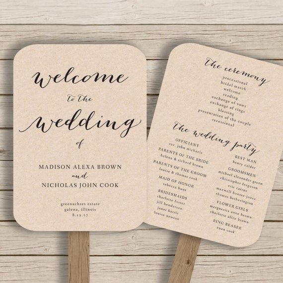 Wedding Program Fans Template Elegant Wedding Program Fan Template Printable by Hopestreetprintables