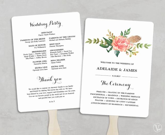 Wedding Program Fans Template Fresh Printable Wedding Program Template Fan Wedding Programs
