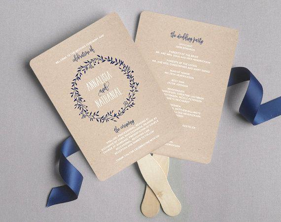 Wedding Program Fans Template Inspirational Wedding Program Fan Wedding Program Printable Navy