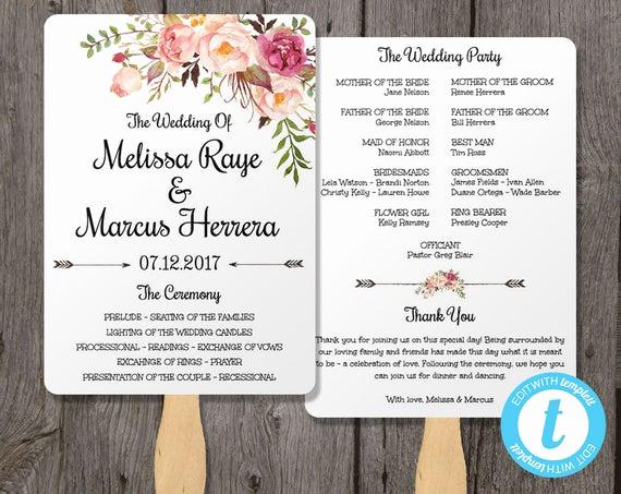 Wedding Program Fans Template Luxury Wedding Program Fan Template Bohemian Floral Instant by
