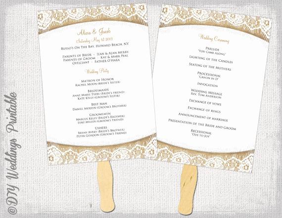 Wedding Program Fans Template Luxury Wedding Program Fan Template Rustic Burlap & Lace