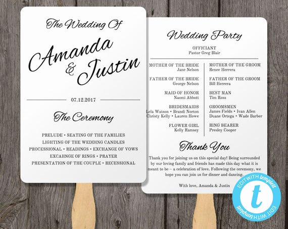 Wedding Program Fans Template New Printable Wedding Program Fan Template Fan Wedding by