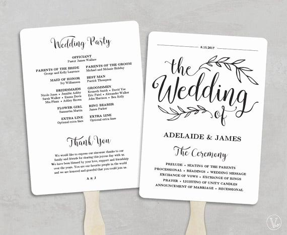 Wedding Program Fans Template Unique Printable Wedding Program Template Fan Wedding by Vinewedding