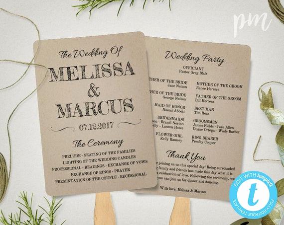 Wedding Program Fans Template Unique Rustic Wedding Program Fan Template Fan Wedding Program