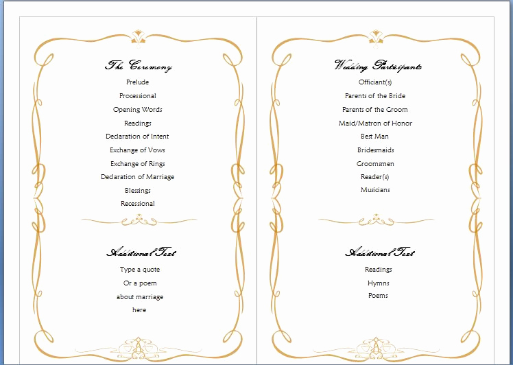 Wedding Program Template Free Awesome Wedding Program Template Word