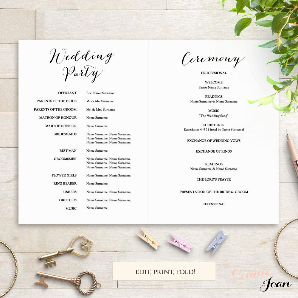 Wedding Program Template Free Beautiful Sweet Bomb Printable Folded Wedding order Of Service