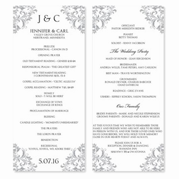 Wedding Program Template Word Beautiful Wedding Program Template Instant Download Edit by