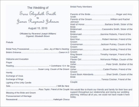 Wedding Program Template Word Best Of 8 Word Wedding Program Templates Free Download