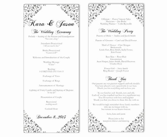 Wedding Program Template Word Elegant Wedding Program Template Diy Editable Word File Instant