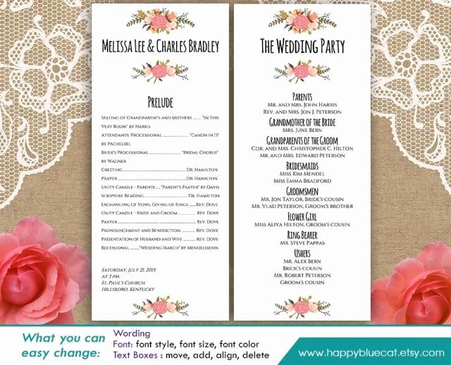 Wedding Program Template Word Fresh Diy Printable Program Wedding Template Instant Download