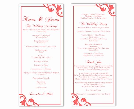 Wedding Program Template Word Fresh Wedding Program Template Diy Editable Text Word File