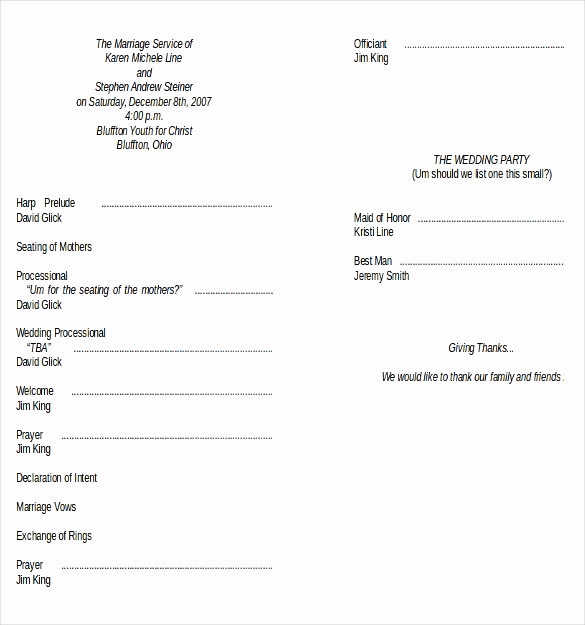 Wedding Program Template Word Fresh Wedding Program Templates – 15 Free Word Pdf Psd