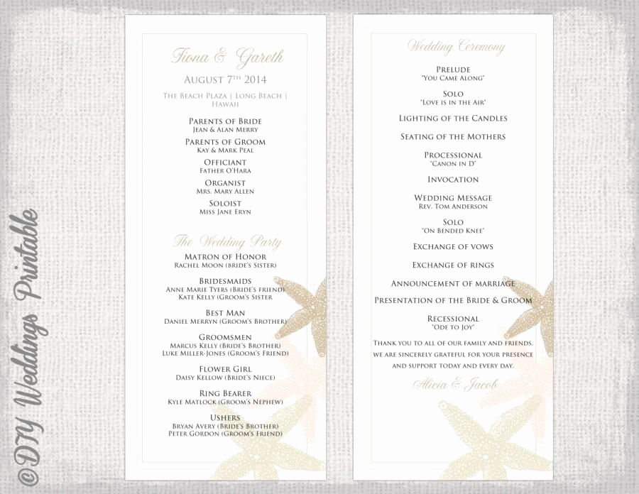 "Wedding Program Template Word Inspirational Beach Wedding Program Template ""starfish"" Wedding"