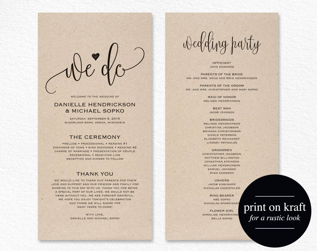 Wedding Program Template Word Lovely Wedding Program Template Wedding Program Printable We Do