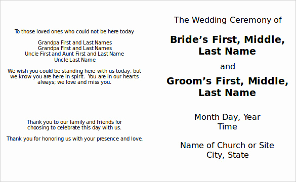 Wedding Program Template Word New 8 Word Wedding Program Templates Free Download