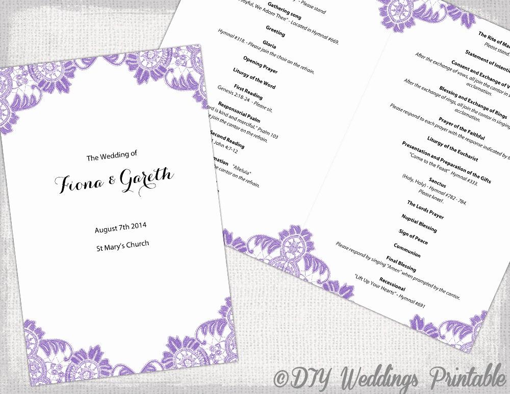 Wedding Program Template Word New Catholic Wedding Program Template Wisteria Lavender