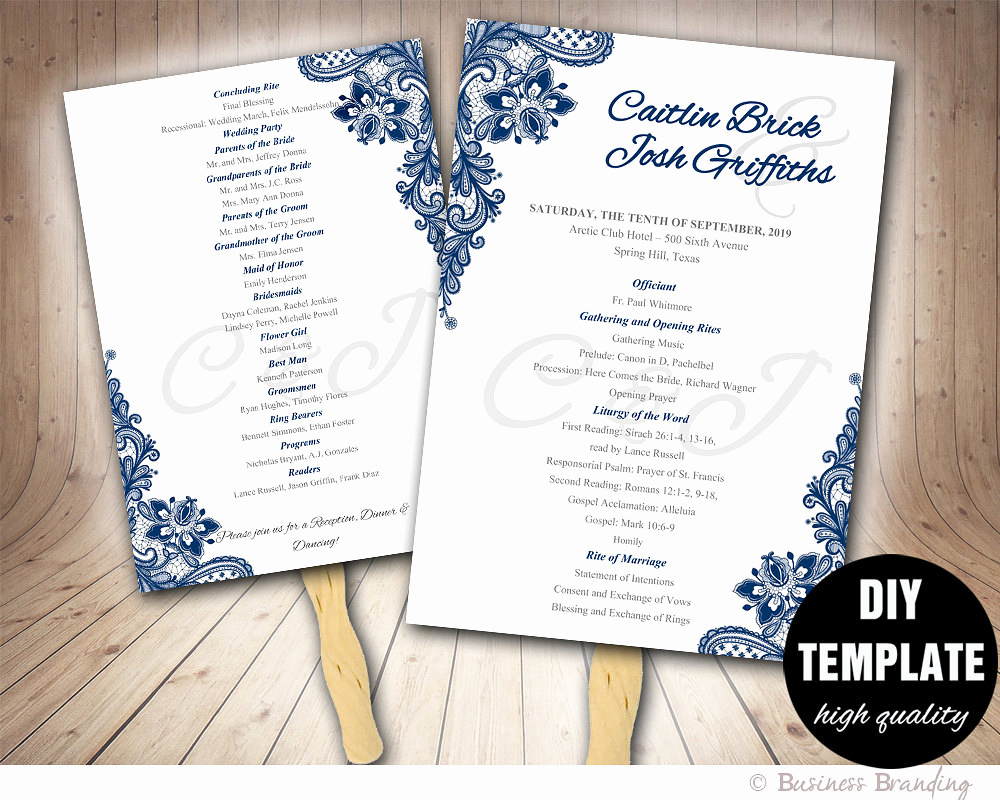 Wedding Programs Fans Templates Awesome Blue Wedding Programs Fan Template Diy Instant