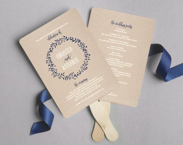 Wedding Programs Fans Templates Awesome Wedding Program Fan Wedding Program Printable Navy