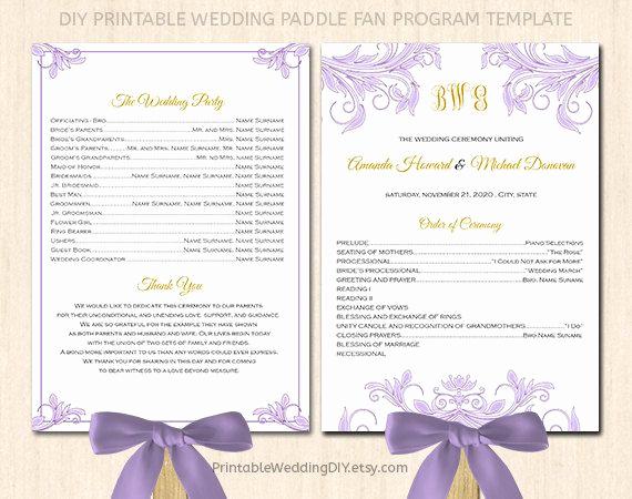 Wedding Programs Fans Templates Beautiful Fan Wedding Program Template Printable Fan Program Instant