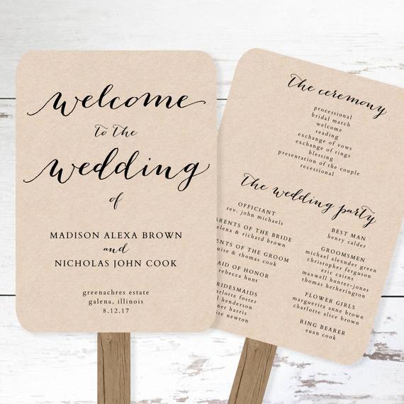 wedding program fan template printable