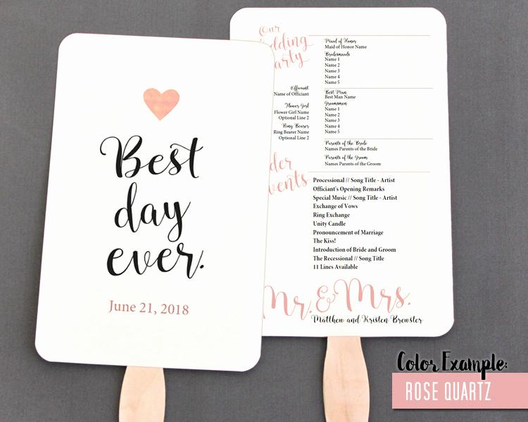 Wedding Programs Fans Templates Best Of Best Day Ever Wedding Program Fan Warm Colors