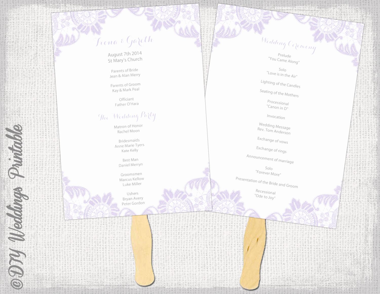 Wedding Programs Fans Templates Fresh Wedding Fan Program Template Iris Antique Lace
