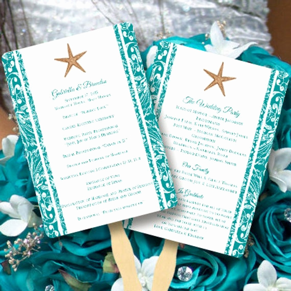 Wedding Programs Fans Templates Inspirational Fan Wedding Programs Beach Starfish Jade