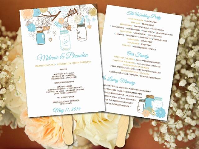 Wedding Programs Fans Templates Luxury Diy Wedding Fan Program Template Mason Jar Wedding Fan