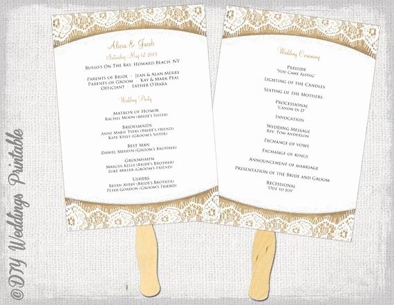 Wedding Programs Fans Templates Unique Wedding Program Fan Template Rustic Burlap & Lace
