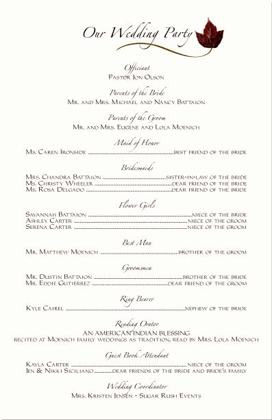 Wedding Reception Program Template Beautiful Wedding Ceremony Programs Wording Examples