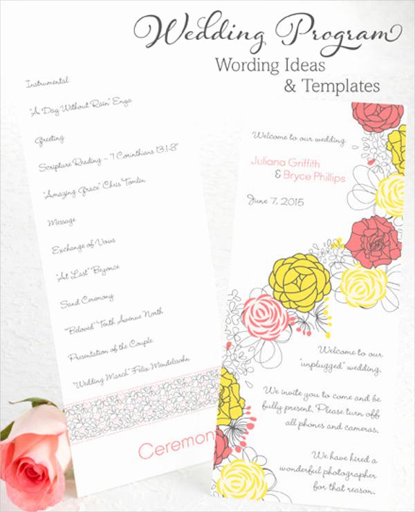 Wedding Reception Program Template Best Of 8 Wedding Party Program Templates Psd Vector Eps Ai