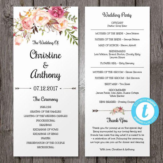 Wedding Reception Program Template Elegant Pink Floral Wedding Program Instant Download Bohemian