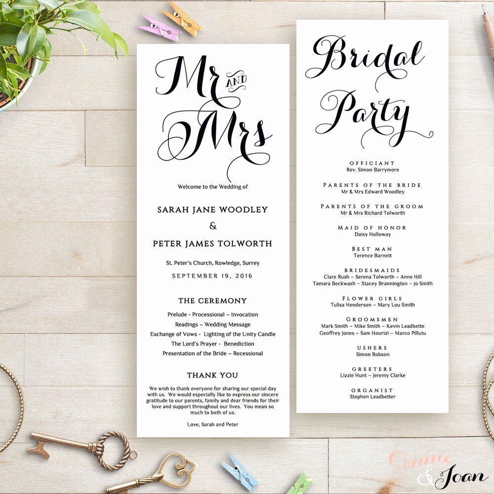 Wedding Reception Program Template Elegant Printable Wedding Program order Of Service Template