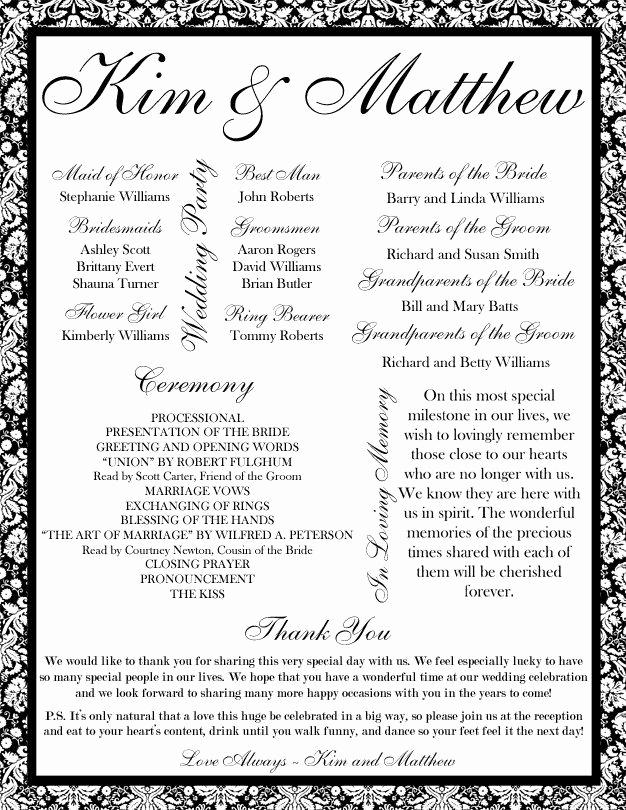 Wedding Reception Program Template Fresh 35 Best Printable Wedding Programs Images On Pinterest