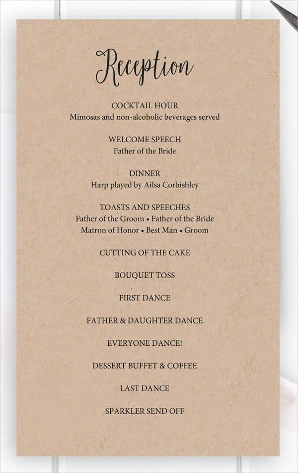 Wedding Reception Program Template Lovely 8 Wedding Party Program Templates Psd Vector Eps Ai
