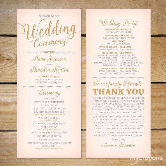Wedding Reception Program Template Lovely Blush Pink and Gold Wedding Program Printable Printable
