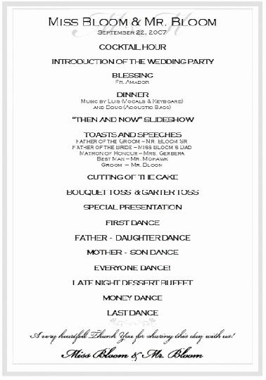 Wedding Reception Program Template Luxury Sample Wedding Reception Program Ceremony