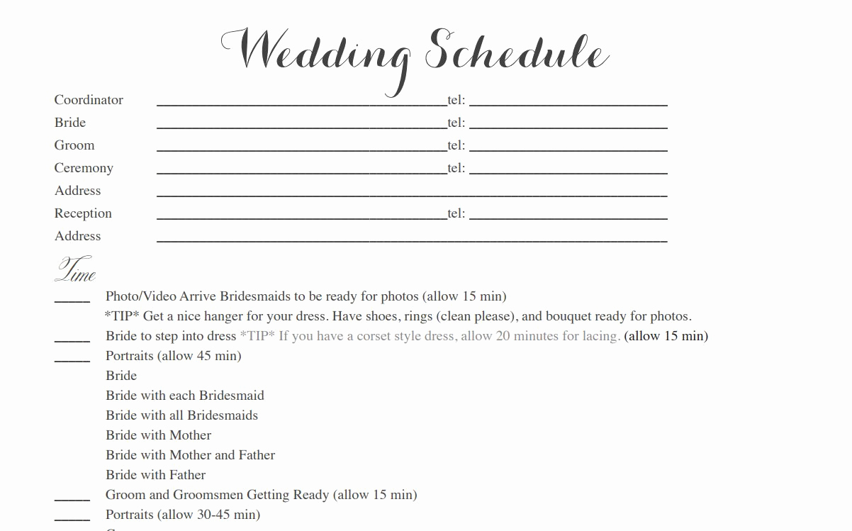 Wedding Reception Timeline Template Beautiful Free Wedding Itinerary Templates and Timelines