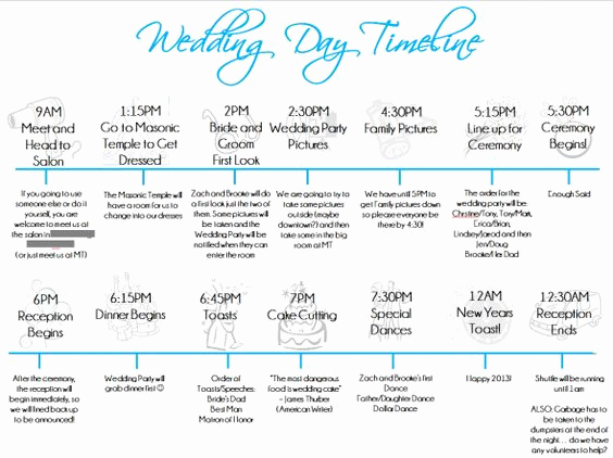 Wedding Reception Timeline Template Beautiful Wedding Day Timeline Template