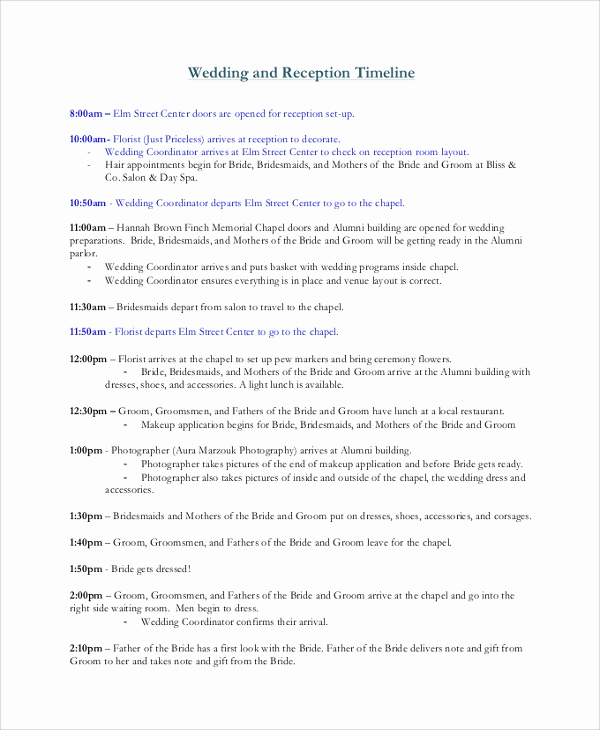 Wedding Reception Timeline Template Inspirational 8 Wedding Timeline Samples