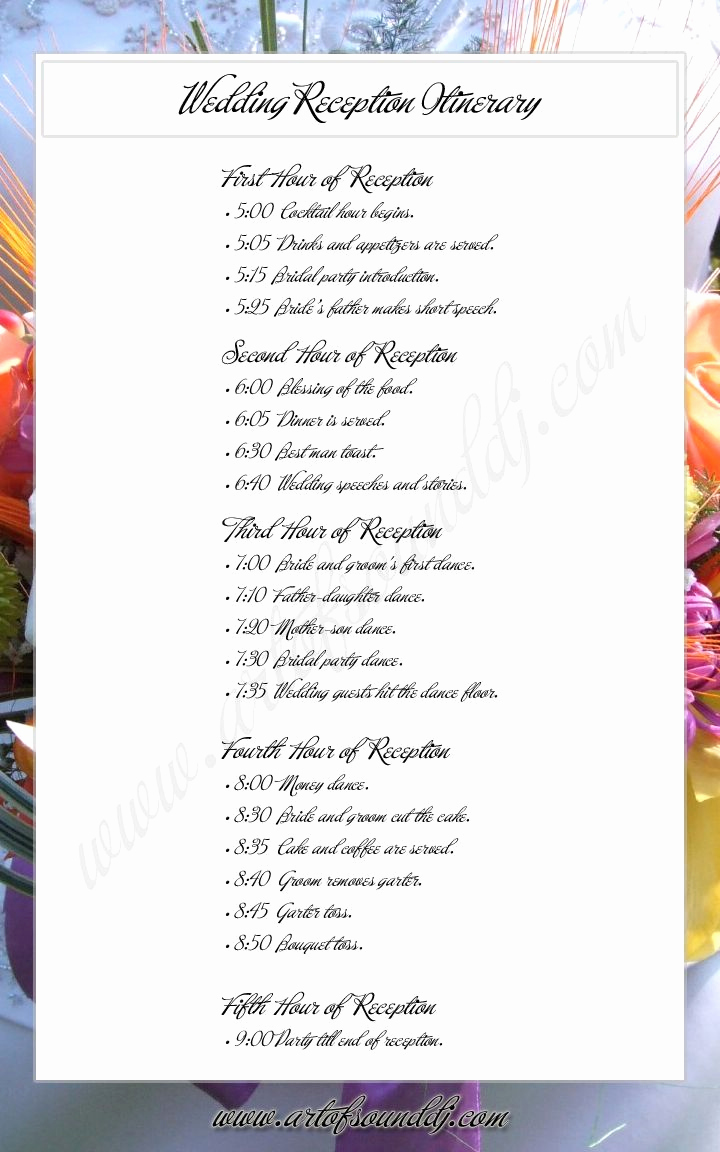 Wedding Reception Timeline Template Luxury Wedding Reception Itinerary Great Idea Takes the