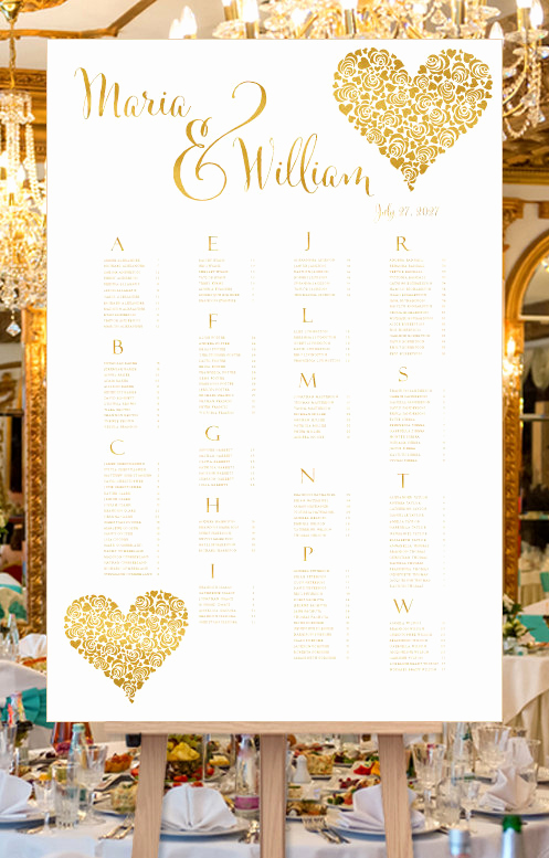 Wedding Seating Chart Poster Elegant Wedding Seating Chart Poster Floral Heart Gold